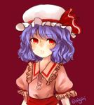 1girl absurdres blue_hair bust expressionless hat hat_ribbon highres meshi-dan mob_cap puffy_short_sleeves puffy_sleeves red_background red_eyes remilia_scarlet ribbon short_hair short_sleeves simple_background touhou wing_collar