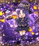 animal boots chibi dress halloween happinesscharge_precure! happy hat heart hikawa_iona jewelry long_hair pumpkin purple_eyes violet_hair witch
