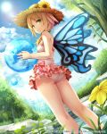 1girl bare_shoulders blonde_hair clouds flower from_behind green_eyes hat highres holding lens_flare looking_at_viewer looking_back lost_crusade namaru_(summer_dandy) one-piece_swimsuit short_hair sky smile solo sun sun_hat swimsuit tree water wings