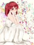 aino_megumi bare_shoulders dress hands_on_cheeks happinesscharge_precure! long_hair red_eyes redhead smile
