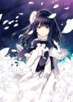 1girl black_hair flower hair_flower hair_ornament hirano_katsuyuki long_hair morning_musume petals sayashi_riho solo