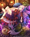 1girl :o anklet barefoot blonde_hair blue_hair blush bracelet demon_girl facial_mark hair_twirling highres jewelry lantern long_hair looking_at_viewer lost_crusade lying monster multicolored_hair nail_polish namaru_(summer_dandy) on_back open_mouth pink_hair scythe solo toes very_long_hair violet_eyes weapon