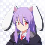 1girl adapted_costume animal_ears blush bust cato_(monocatienus) hoodie jacket long_hair looking_at_viewer necktie open_mouth pink_eyes purple_hair rabbit_ears reisen_udongein_inaba shirt solo touhou