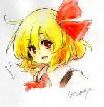 1girl :d ascot blonde_hair hair_ribbon open_mouth portrait red_eyes ribbon rumia short_hair smile touhou