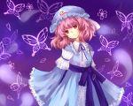 1girl butterfly expressionless frilled_sleeves frills highres japanese_clothes kimono meshi-dan mob_cap pink_eyes pink_hair saigyouji_yuyuko short_hair touhou triangular_headpiece wide_sleeves