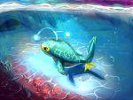 caustics coral fins fish fuujin_(sajinnarashi) glowing lanturn no_humans pokemon pokemon_(creature) pokemon_(game) solo swimming underwater water