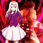 1boy 1girl berserker fate/stay_night fate_(series) hand_on_hip illyasviel_von_einzbern long_hair looking_at_viewer muscle pink_eyes silver_hair skirt smile ty_1865