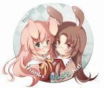 animal_ears blush bunny_ears glasses hits multiple_girls pan_(mimi) rabbit_ears ribbon