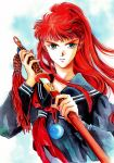 1girl absurdres artist_request green_eyes highres juuni_kokuki long_hair nakajima_youko red_hair scan school_uniform sheath solo source_request sword unsheathing weapon