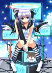 bow cable chobi_(pixiv) dog hair_bow halo highres kneehighs koi koi_(koisan) monitor oversized_object pixiv pixiv-tan purple_hair short_twintails sitting smile socks solo star striped stylus twintails wings
