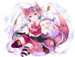 animal_ears brown_hair card fang fox_ears fox_tail highres leeannpippisum mismatched_legwear nail_polish navel original playing_card shorts smile strap_slip striped striped_legwear tail thigh-highs violet_eyes wristband zettai_ryouiki