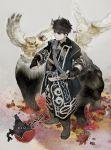 1boy 1girl ainu_clothes autumn_leaves bear bird headband isi88 male original owl sword weapon