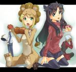 2girls ahoge animal_costume archer black_hair blonde_hair blue_eyes boned_meat ef-clannad emiya_shirou fate/stay_night fate/tiger_colosseum fate_(series) food green_eyes lion_costume long_hair meat multiple_girls saber_lion tohsaka_rin toosaka_rin two_side_up