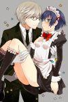 apron blue_hair butler carrying glasses gloves grey_hair hijiri_ruka maid narukami_yuu persona persona_4 princess_carry shirogane_naoto
