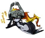1girl fang flat_chest helmet imp long_hair lying midna navel on_side orange_hair pointy_ears red_eyes smile solo the_legend_of_zelda translation_request twilight_princess yakibuta_(shimapow) yellow_sclera
