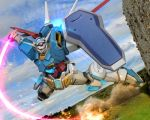 beam_saber clouds energy_sword fire g-self glowing glowing_eyes gundam gundam_reconguista_in_g hiropon_(tasogare_no_puu) mecha no_humans photo_background shield sky smoke solo sword weapon yellow_eyes