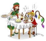 2girls apron blonde_hair bottle braid closed_eyes dupp_akiru eating flandre_scarlet food fried_rice glass hat hong_meiling multiple_girls noodles orange_hair ramen side_ponytail simple_background star stool table touhou twin_braids wings