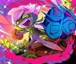 blue_eyes dutch_angle looking_at_viewer monoka no_humans open_mouth pokemon roserade solo standing vines