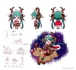 ahoge animal_costume antlers bell cape christmas green_eyes green_hair hair_bell hair_ornament hatsune_miku highres long_hair open_mouth red_nose reindeer reindeer_antlers reindeer_costume riding shuzi twintails very_long_hair vocaloid