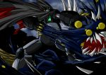 battle black_getter cape getter_robo mecha monster no_humans ripping shin_getter_robo shouji_2 spikes super_robot