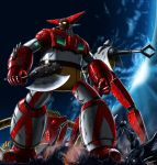 alien axe back-to-back corpse damaged earth getter-1 getter-2 getter-3 getter_robo highres mecha monster moon no_humans oldschool rust shin_getter_robo space super_robot weapon