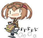 1girl :d amakara_surume armlet bare_shoulders blush brown_hair chibi gloves goggles goggles_on_head jewelry long_hair necklace ole_tower open_mouth overalls rammer_(ole_tower) riding simple_background smile solo twintails white_background |_|