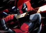 2boys claws deadpool katana male marvel mask multiple_boys rariatto_(ganguri) reflection sword weapon wolverine