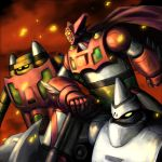 70s aniki_gunsou arm_support axe cape embers getter-1 getter-2 getter-3 getter_robo highres mecha no_humans oldschool smoke super_robot weapon