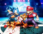 3boys accolade animal blood boxing_ring broken_teeth bubsy bubsy_(character) cat crossover facial_hair genzoman gloves hat hedgehog infogrames injury mario mario_(series) mario_bros. mascot multiple_boys multiple_crossover mustache nintendo nintendo_ead overalls plumber punching sega shirt_grab shoes sleeve_rolled_up sneakers sonic sonic_the_hedgehog super_smash_bros. super_smash_bros_for_wii_u_and_3ds t-shirt what white_gloves