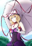 1girl absurdres bare_shoulders blonde_hair blue_sky bow breasts choker cleavage clouds collarbone commentary_request corset dress ears elbow_gloves frills gloves hair_bow hair_up hat hat_ribbon head_tilt highres holding_umbrella kyoukyan large_breasts long_hair looking_to_the_side mob_cap parted_lips purple_dress ribbon ribbon_choker ribbon_trim sky smile solo teeth touhou tree umbrella violet_eyes yakumo_yukari