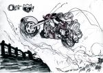 1girl alex_ahad antennae black_torch bodysuit breasts cleavage cropped_jacket driving fallout_(black_torch) kamina_shades large_breasts marker_(medium) monochrome motor_vehicle motorcycle short_hair traditional_media vehicle