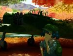 1girl aircraft airplane aqua_eyes autumn autumn_leaves backpack bag blue_eyes blue_hair bush clouds cloudy_sky field forest grass hair_bobbles hair_ornament hand_on_hip hand_on_own_cheek hand_on_own_chin hat highres kawashiro_nitori leaf light_rays maple_leaf maple_tree mountain nature one_eye_closed plant propeller puffy_short_sleeves puffy_sleeves reflection river rock scenery shadow shiratama_(hockey) shirt short_sleeves skirt sky sleeves_rolled_up smile solo stone sunlight sweatdrop touhou tree twintails water