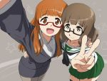 2girls brown_eyes brown_hair cosplay costume_switch crossover futsuu_no_joshikousei_ga_locodol_yattemita girls_und_panzer glasses long_hair mact multiple_girls namesake nishifukai_saori open_mouth school_uniform serafuku short_hair skirt smile takebe_saori thigh-highs v