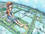1girl barefoot blue_eyes brown_hair giantess hat long_hair looking_up original overalls reflection sitting sky smile solo straw_hat t-shirt water