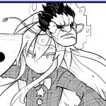 1girl bow expressionless fan gouki hata_no_kokoro kuroshiro_(ms-2420) long_hair long_sleeves mask mask_on_head monochrome parody plaid plaid_shirt solo street_fighter touhou