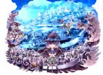 6+girls animal_ears blonde_hair blue_hair brown_hair building dancing dragon dress flying frills glasses hat hat_ribbon hoshino_kawauso long_hair multiple_girls original ponytail purple_hair ribbon short_hair sigging sparkle thigh-highs violet_eyes wand western_dragon witch witch_hat