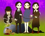 5girls addams_family agatha_(paranorman) black_eyes black_hair black_legwear blood chain character_request crossover esther_(orphan) franken_fran hammer madaraki_veronica multiple_girls orphan paranorman rope stitches tagme tears wednesday_addams worried