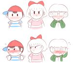 1girl 2boys angry baseball_cap blush embarrassed flying_sweatdrops glasses hat jeff_andonuts mother_(game) mother_2 mr._cake multiple_boys ness paula_polestar short_hair simple_background sweat white_background