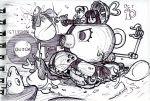 2girls alex_ahad chibi copyright_request energy_gun hairband long_hair marker_(medium) military military_vehicle monochrome monster multiple_girls ray_gun scan scan_artifacts tank traditional_media vehicle weapon