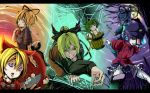 5girls blonde_hair blue_eyes blue_hair bow bucket cave doll doll_joints dress flower green_eyes green_hair grin hair_bobbles hair_bow hair_ornament hair_ribbon hair_rings hair_stick hat in_bucket in_container jiangshi kaku_seiga kisume kurodani_yamame letterboxed lily_of_the_valley medicine_melancholy miyako_yoshika moon multiple_girls night ofuda open_mouth outstretched_arms ponytail red_eyes ribbon shawl shika_miso short_hair silk skirt smile spider_web star su-san sunset touhou twintails vest wings