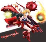 1girl blonde_hair boots braid breasts char's_counterattack character_name cleavage collarbone energy_gun green_eyes gundam hair_ribbon horns long_hair mecha_musume nightingale one-piece_swimsuit personification red_ribbon ribbon school_swimsuit smile solo swimsuit takonosuke weapon