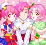 1boy 2girls character_request copyright_request dress eyelashes hair_ornament happy kurochiroko looking_at_viewer multiple_girls pink_eyes pink_hair ribbon sketch smile tagme violet_eyes wrist_cuffs yellow_eyes