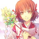 castlevania castlevania:_aria_of_sorrow hakuba_mina japanese_clothes kariya_(mizore) miko orange_eyes orange_hair ribbon tagme