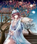1girl adapted_costume bell blooming blue_sky breasts butterfly cat cherry_blossoms cleavage clouds collarbone expressionless fence floral_print frilled_kimono galaxy glowing_butterfly highres hir02 holding_animal japanese_clothes kimono kitten kneeling large_breasts long_sleeves looking_to_the_side looking_up mob_cap obi parted_lips pink_hair planet ribbon-trimmed_collar ribbon_trim saigyouji_yuyuko sash short_hair short_kimono sky solo stairs stairway sunrise tagme thighs touhou tree triangular_headpiece veil violet_eyes wavy_hair wide_sleeves