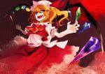 1girl aguruma_(yukisita03) ascot bat_wings blonde_hair flandre_scarlet flower full_moon hat moon open_mouth red_eyes red_moon red_sky ribbon rose short_hair side_ponytail sky smile solo touhou wings