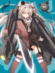 1girl alternate_weapon amatsukaze_(kantai_collection) black_panties brown_eyes cat choker gun gundam gundam_00 gundam_00f gundam_astraea_type-f hair_tubes kantai_collection long_hair looking_at_viewer mini_hat mtu_(orewamuzituda) panties school_uniform serafuku silver_hair solo striped striped_legwear thigh-highs twintails underwear weapon
