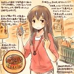 1girl akagi_(kantai_collection) alternate_costume brown_eyes brown_hair can casual groceries jewelry kantai_collection kirisawa_juuzou long_hair necklace shopping shopping_cart solo sweatdrop translation_request