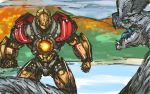 battle clenched_hands crossover fusion gipsy_danger highres hisou_tensoku kaijuu mecha nameo_(judgemasterkou) no_humans otachi pacific_rim touhou