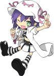 choker food green_eyes hat highres merry_nightmare midriff purple_hair ribbon short_hair skirt striped striped_legwear winking yumekui_merry