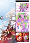 2boys 4girls 4koma ^_^ black_hair blonde_hair breasts buzz_lightyear character_request chocola_(don_dracula) closed_eyes comic crossover don_dracula don_dracula_(character) eating explosion fang flandre_scarlet gem green_eyes hong_meiling ling_xiaoyu multiple_boys multiple_girls my_little_pony my_little_pony_friendship_is_magic open_mouth poster red_eyes redhead scarlet_devil_mansion sheriff_woody spike_(my_little_pony) sweat tears tekken touhou toy_story twintails wings zxyon2008